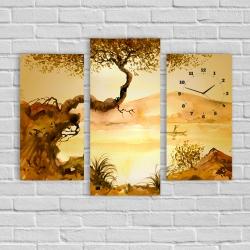 Дерево. Китайская живопись (модульная картина-часы)